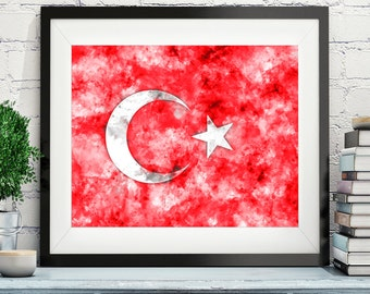 Turkey Flag Art, Turkey Flag Print, Flag Poster, Country Flags, Watercolor Painting, Watercolor Flag, Turkish Flag, Turkish Gifts, Wall Art