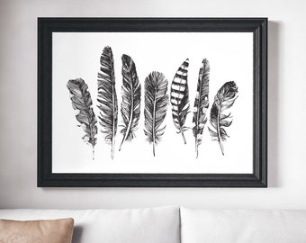 Feather Print, Black and White Print, Black and White Art, Feather Art, Minimalist Print, Minimalist Art, Minimalist Black and White Print