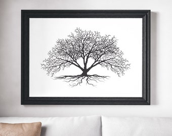 Tree Print, Black and White Print, Black and White Art, Tree Art, Minimalist Print, Minimalist Art, Minimalist Black and White Print, Trees