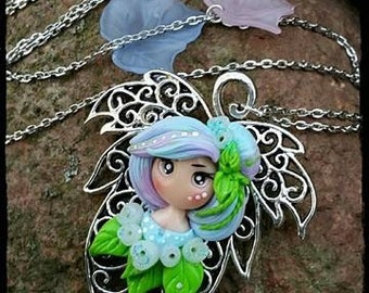Pastel Necklace blue leaves Dolly