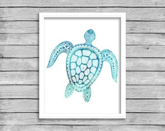 Sea Turtle Wall Art Print, Printable Nautical Ocean Sea Beach House Decor, Beach Wall Art Print, INSTANT DOWNLOAD Digital Download Poster