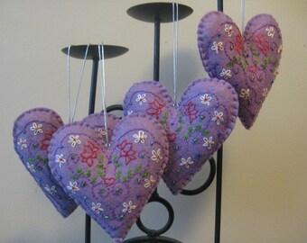 Purple Felt Heart Christmas Ornament
