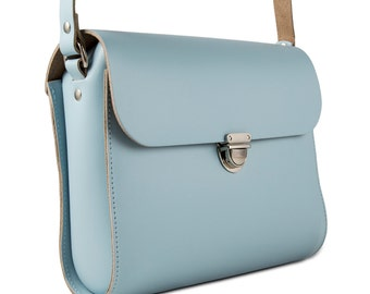 Powder Blue Leather Crossbody/Shoulder Bag made in London