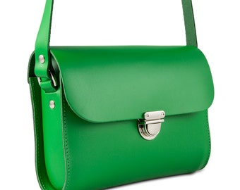 Green Small Leather Crossbody/Shoulder Bag, Made in London