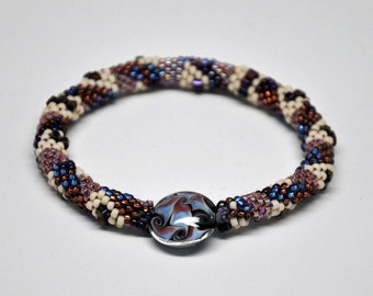 Crocheted Bead Rope Bracelet - Purple Snake Skin -