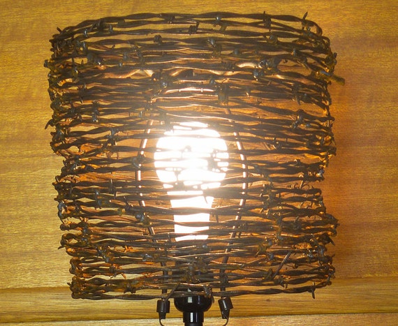 Lamp shade barb wire lamp shade western lamp shade like this item keyboard keysfo Images