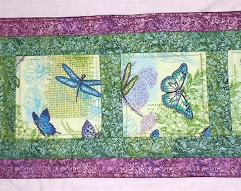 """Green and Purple Fairy Frost/Butterfly and Dragonfly Inspirational Floral  Turned Table Runner 14"""" x 38"""""""