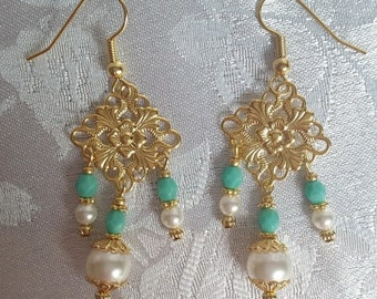 Swarovski Pearl and Czech Turquoise Chandelier Earrings Green White Gold