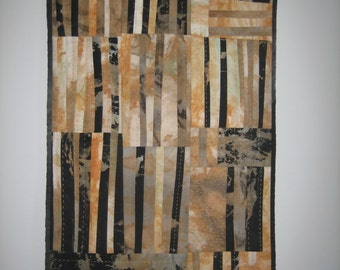 Quilted wall art, fibre art, textile wall hanging, home decor, Arrowtown Gold
