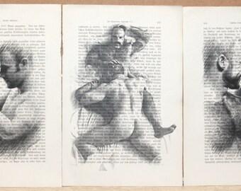 Erotic gay mens love print poster vintage antique books 3 pages decor interior picture ART erotic