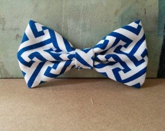 Dog Bow Tie: Geometric, Navy, Bow Tie, Dog Accessory