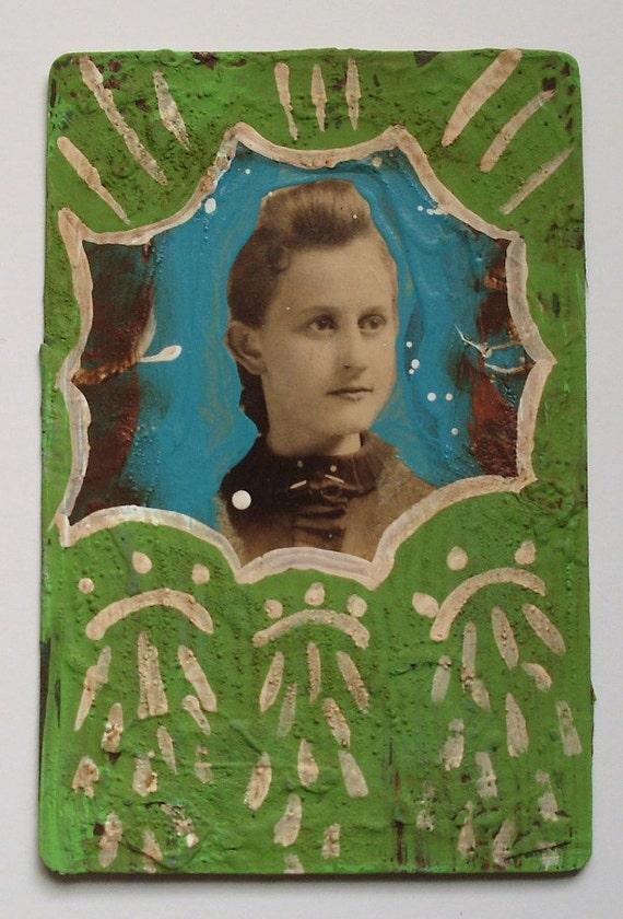 "strong-altered cabinet card, primitive folk art/outsider art, 4-1/4"" x 6-1/2"""