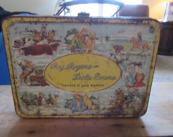 Vintage 1950s Roy Rogers and Dale Evans Double R Bar Ranch Lunch Box