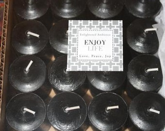 Black Amber Scented Votive Candle Set of 15