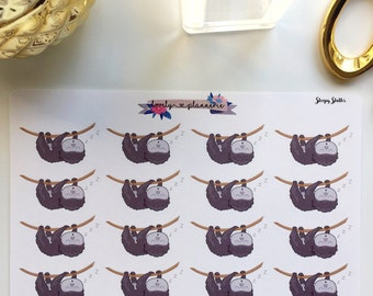 Sleepy sloth stickers, napping sloth planner stickers, sleeping sloth, sloth planner stickers, sloth stickers, sloth