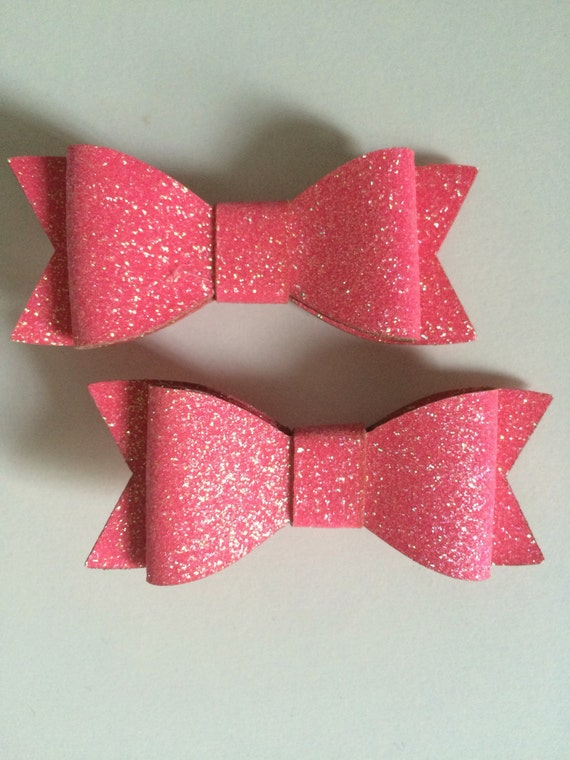 Hot Pink Bow Hair Clips - Set of 2