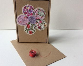 Handmade card with free motion embroidery