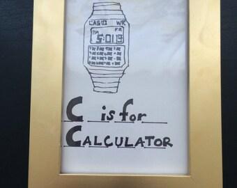 C is for calculator illustration