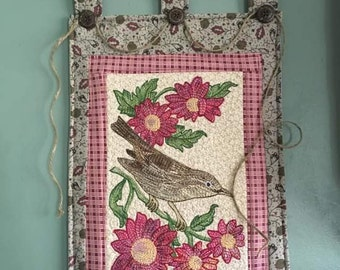 Building the nest...quilted, embroidered, and thread painted wall hanging