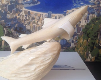"Stunning Walrus Tusk Eskimo Antler Sculpture Carved ""Shark on the Wave"""
