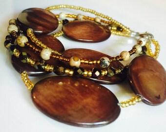 Brown Boho Earthy Neutral Beaded Bracelet