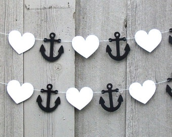 Nautical Anchor garland, Anchor and Heart garland, Nautical party decorations, Nautical party, Wedding shower, Baby shower, Black and White