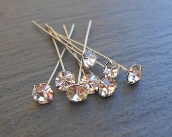 Set of 8 nails Headpins old Swarovski Elements crystal color 5 MM clear Crystal silver-plated / No. 0039