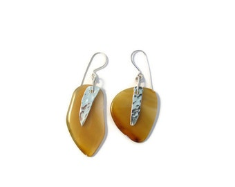 Agate & Hammered Sterling Silver Earrings
