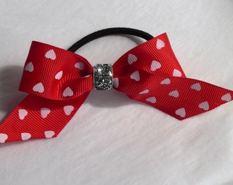 Red and White heart bow hair bobble