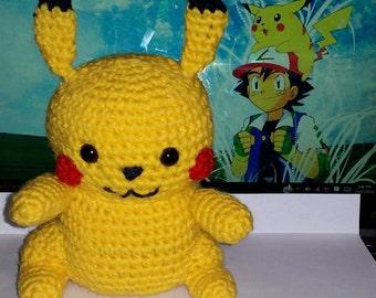 "Crochet Pikachu ""Pokemon""  13cm by 20cm tall"