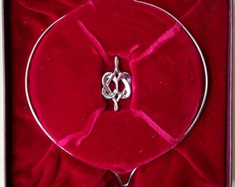 Vintage 1976 Franklin Mint Hearts Entwined Sterling Silver 925 Pendant & Choker Necklace