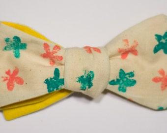 Summer Flower Print Self-Tie Bow Tie