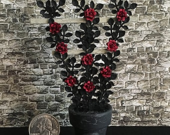Dollhouse Miniature Haunted Halloween Red Rose Trellis Artist Made