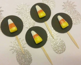12 Candy Corn Halloween Cupcake Toppers