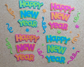 4 Happy New Year Die Cuts Embellishment with Confetti