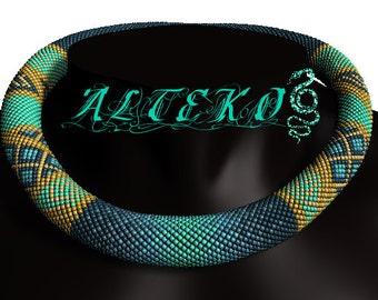 "Bead crochet pattern PDF JBB tutorial Crochet rope seme DIY necklaelry mace Jewking ""Marine Lights"""