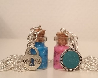 Small Bottle Necklace (pink and blue)