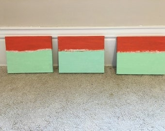Minimalist abstract wall art in orange and mint// 3 pieces