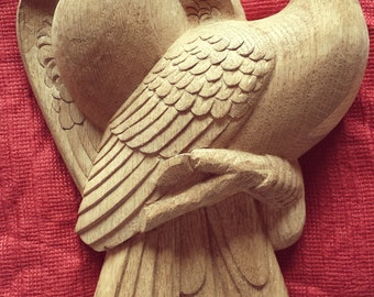 Sculpture: Doves in carved oak