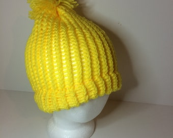 Yellow Crochet Pom Pom Beanie Winter Hat