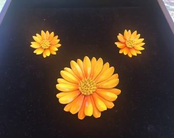 Orange Enamel Flower Brooch and clip on earring set