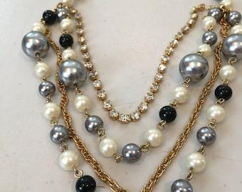 Vintage Black, Silver, Pearl and Rhinestone Multi Strand Necklace
