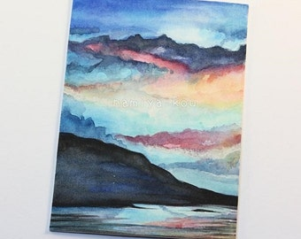 Original ACEO Card, Beautiful Sunrise, Vibrant Sunset, Colorful Clouds, Watercolor Painting, Coastal Mountain Scenery, Scenic OOAK ATC