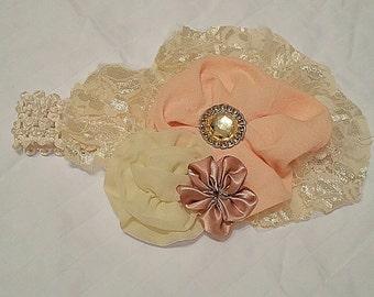 Ivory and Biege Headband Bow