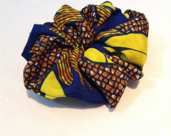 Blue and Yellow Printed Hair Tie