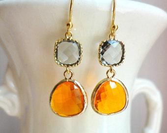 Gorgeous Orange and Gray Glass Dangle Earrings. Colorblock Earrings. Fall Earrings. Bridesmaid Earrings. Fall Wedding. Bridesmaid Gift