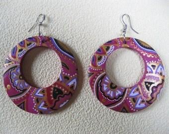 Painted earrings pink