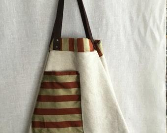 Tote striped beige silk