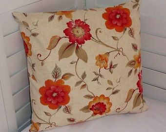 Pillow Cover, Throw Pillow Cover, Decorative Pillow Cover, Cotton Print Fabric, Persimmon Orange Tan Flowers