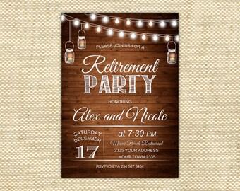Retirement Invitation. Rustic Retirement Party Invitation. Wood. Fairy Lights.
